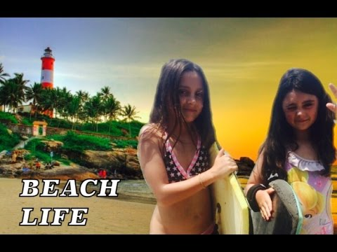 Fun on lighthouse beach Kovalam India Katie and Amys BIG adventures