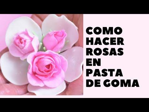 Como hacer rosas en pasta de goma youtube - Flores sencillas de goma eva ...