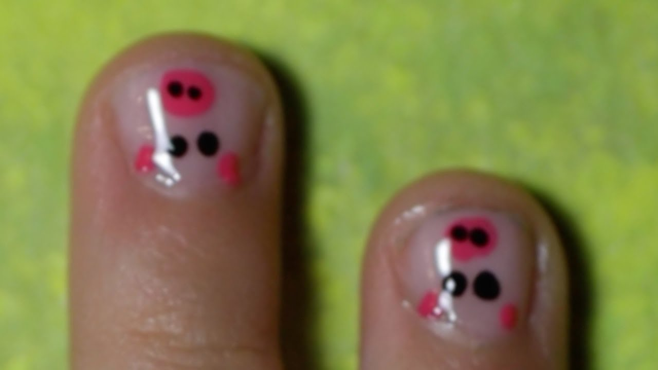 Decoracion de uñas: Osito & Marranito / Nail Art: Panda Bear ...