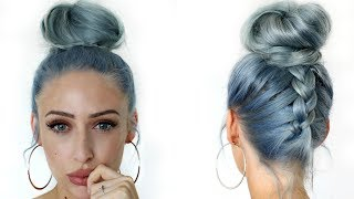 How To: Upside Down Dutch Braid Messy Bun / Top Knot Hair Tutorial - Carly Musleh