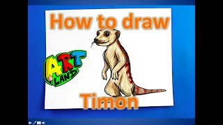 How to draw Timon from the Lion King 2019