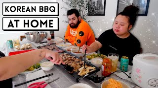 KOREAN BBQ PORK BELLY WRAPS + WAGYU STEAK FEAST AT HOME (COOKING + EATING) MUKBANG 먹방 EATING SHOW!