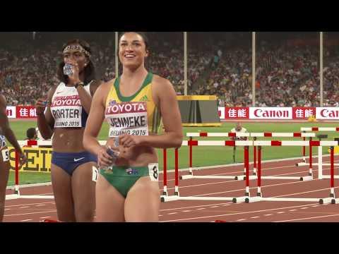 Michelle Jenneke 2015 in Australian shorts