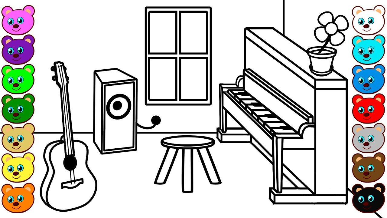 music room colouring coloring cartoon clipart classroom