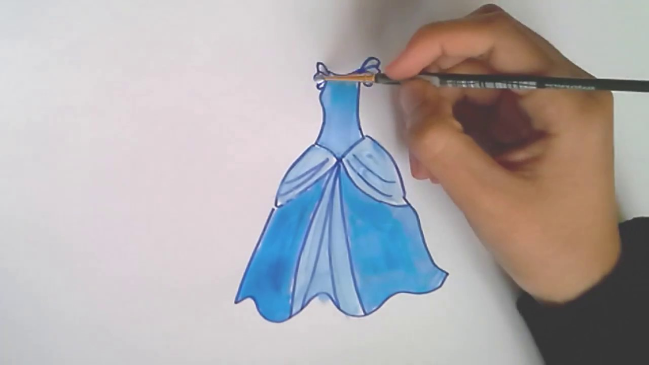 how to draw and color princess dress cindrella for girls youtube