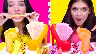 ASMR CANDY RACE PINK AND YELLOW CANDY | EATING SOUNDS LILIBU