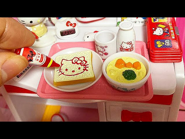 Miniature Cooking Hello Kitty Toast & soup   ASMR Re-Ment Cooking Mini Kitchen Set 미니어처 요리  BoramiTV