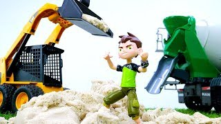 Бен 10 стал строителем! Видео про машинки и профессии игры.