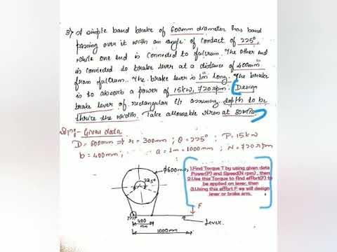 JCE ME DME-2 17ME64 Simple Band Brake Design of Brake Lever Numerical...