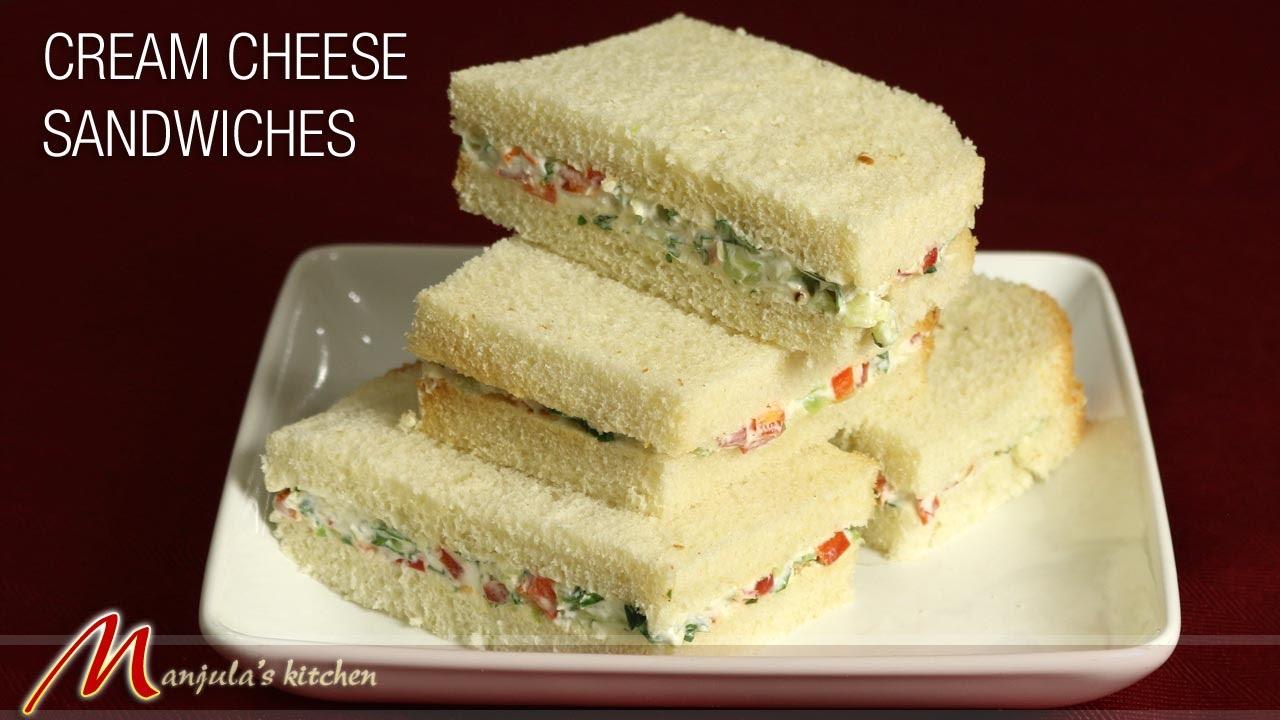 cream cheese sandwiches cucumber recipe by manjula youtube - Manjulas Kitchen 2