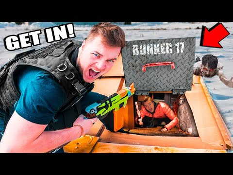 24 Hour Real Life Underground Bunker Apocalypse - Box Fort Zombies Nerf War Z Challenge
