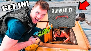 24 Hour Real Life Underground Bunker Apocalypse - Box Fort Zombies Nerf War Z Challenge  📦😱