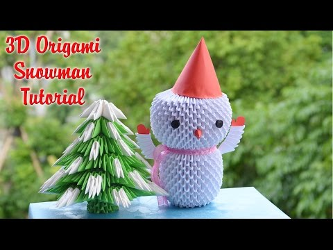 HOW TO MAKE 3D ORIGAMI SNOWMAN | DIY PAPER SNOWMAN CHRISTMAS DECARATION