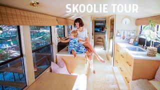 Skoolie Tour: a Rare California School Bus Becomes a DREAMY Tiny House for 3