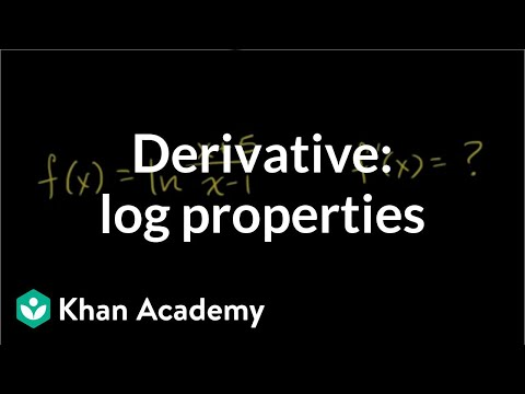 Derivative using log properties