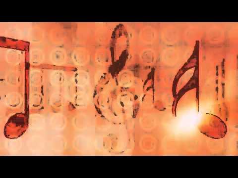 Music Notes and Symbols Carousel Orange Motion Background