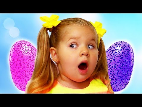 Diana plays with Hatchimals Surprise Eggs