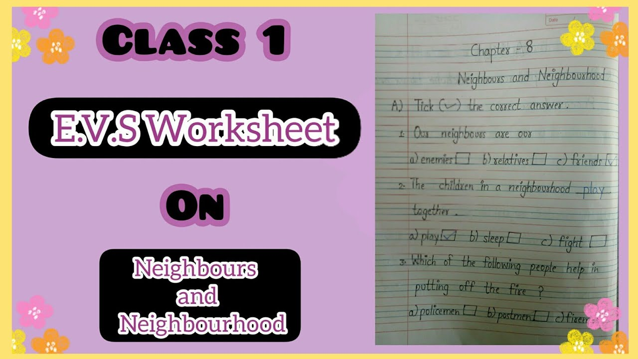 Class 1 E.V.S Worksheet   Ch 8 - Neighbours and Neighbourhood   Part 2 -  YouTube [ 720 x 1280 Pixel ]
