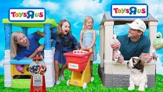 Pretend Toy Stores Compete for Customers !!!