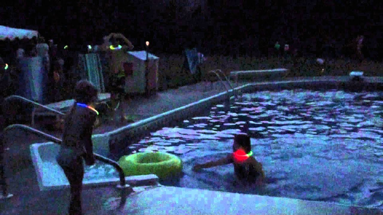 8 9 14 dads celebration party fireworks and late night pool swimming with glow sticks youtube for Late night swimming pools london