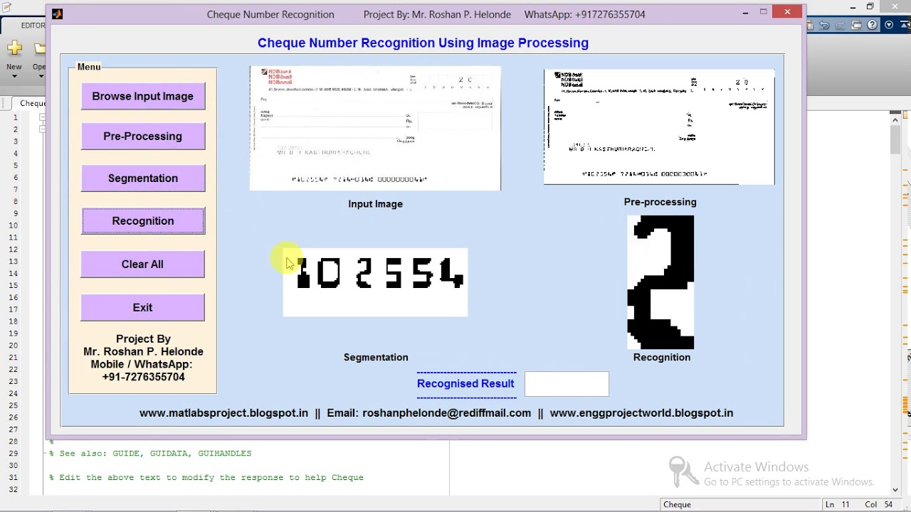 Cheque Number Recognition Using Image Processing Full Matlab