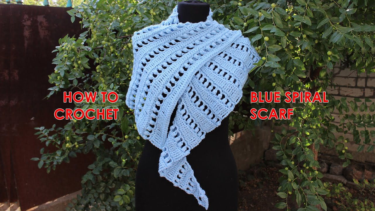 How to crochet a scarf Tutorial Free Pattern Blue Spiral Scarf by ...