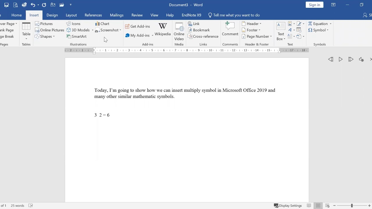 How To Insert Multiply Symbol X In Microsoft Office 2019 Youtube
