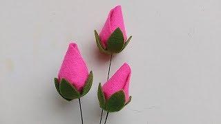 DIY Felt Flower Rose Bud Cara membuat bunga mawar kuncup