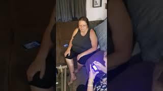 Mom electric shocker on her nipples / boobs on fire lol