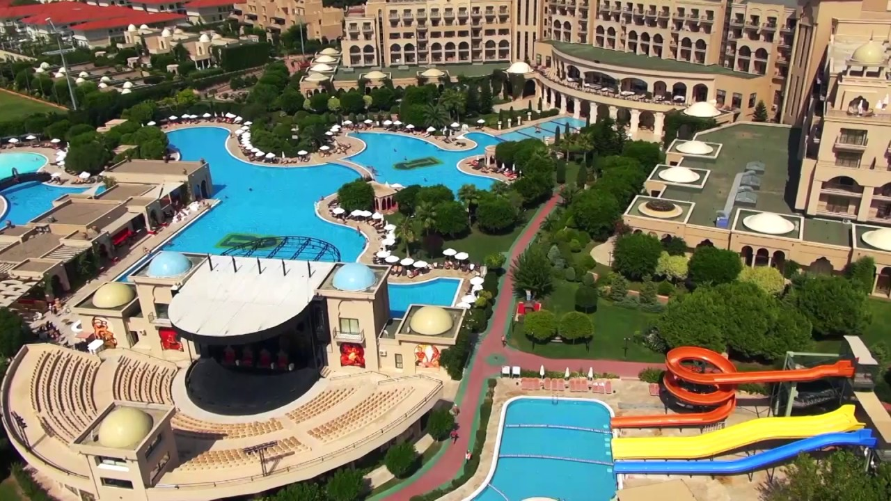 Spice Hotel Spa Belek Antalya Belek Reiseburo Fella Pool Schwimmbad Von Oben Rutschbahnen