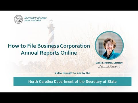 How To File A Business Corporation Annual Report With The NC Department Of The Secretary Of State
