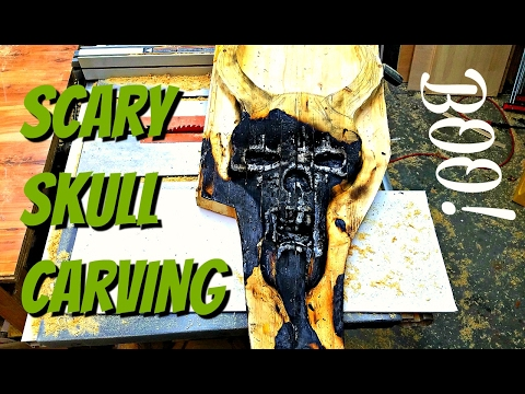 Wood Carving the Scariest Skull Ever!
