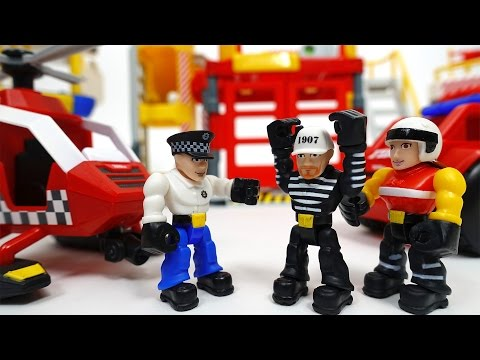 Thumbnail: Prison Break~! Catch The Bad Guy Tonka Town Prison Fire Station Air Rescue Station
