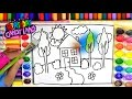 Learn Colors for Kids and Hand Color Watercolor House Trees Coloring Pages