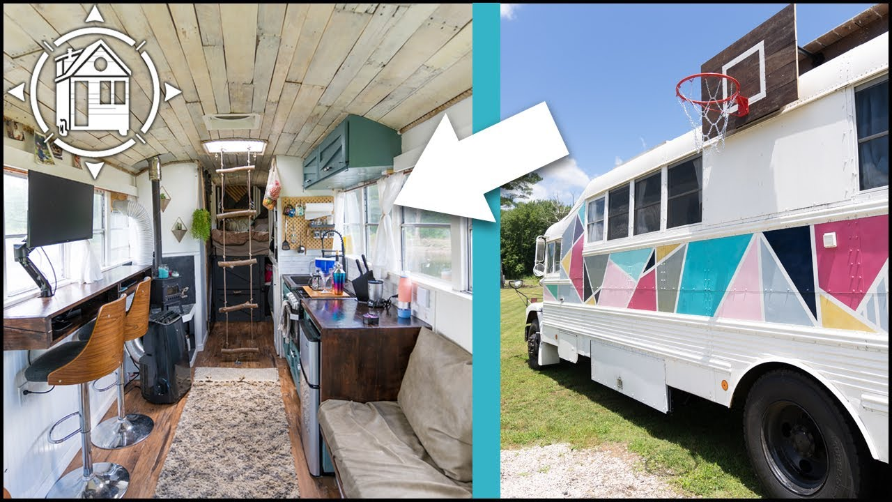 School Bus Converted into Tiny Home for Ultimate #BusLife