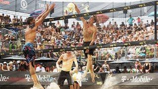 Crazy hit by Taylor Crabb (USA) againts Ricardo Santos (BRA) • Beach Volleyball World