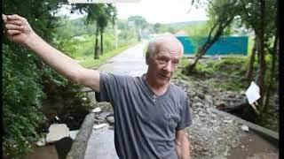 В Уссурийске под водой скрылись дороги и тротуары