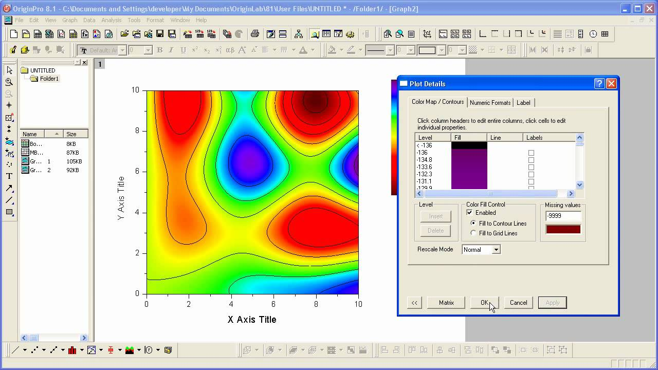 Drawing Smooth Lines Matlab : Graphing origin contour plots and color mapping part