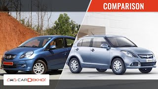 Maruti Suzuki Swift Dzire Vs Honda Amaze | CarDekho.com
