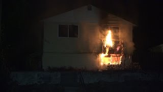 Family of seven in hospital after home caught fire. 10th Ave Burnaby BC Canada (4K)