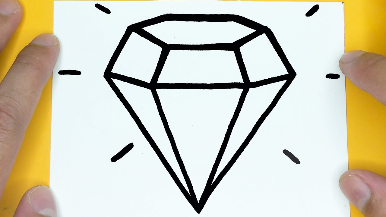 HOW TO DRAW DIAMOND SUPER EASY STEP BY STEP, THINGS TO DRAW