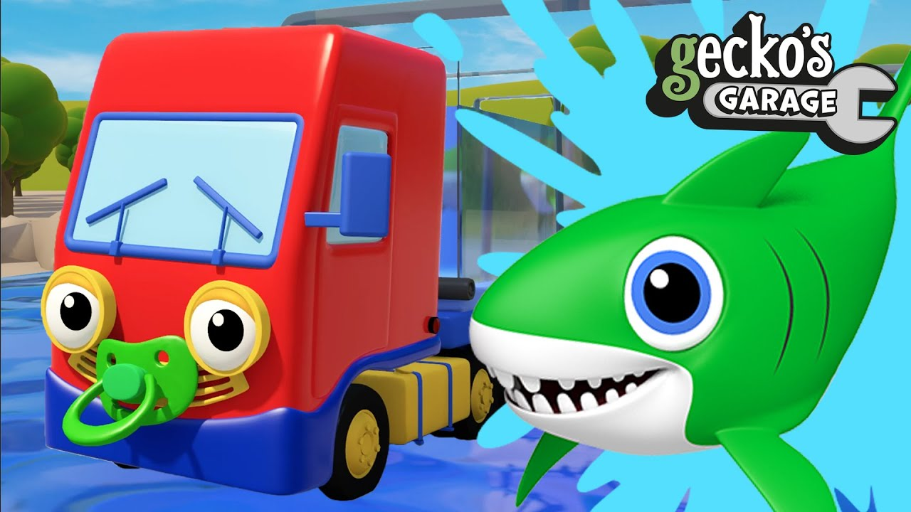 Baby Truck Rescues Baby Shark | Gecko's Garage | Educational Videos For Toddlers | Trucks For Kids