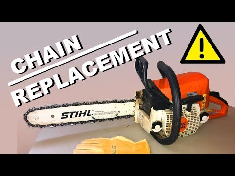 CHAIN REPLACEMENT on a Stihl chainsaw MS 250 - How to