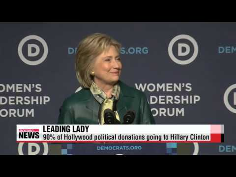 90% of Hollywood political donations going to Hillary Clinton   美 할리우드, 힐러리에 ′올인
