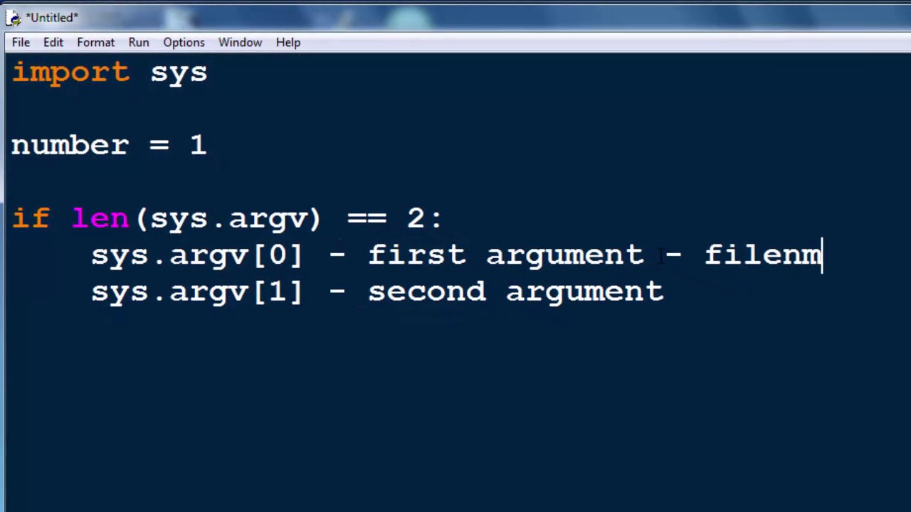 Command Line Arguments in Python programming language (sys module,  sys argv[] string list)