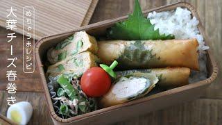 【お弁当作り】大葉の風味がたまらない鶏むねの大葉チーズ春巻き弁当bento#627