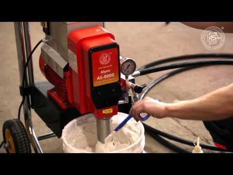 Механическое распыление шпаклёвки Sheetrock на гипрок окрасочным агрегатом AS-8000 вязкие краски!