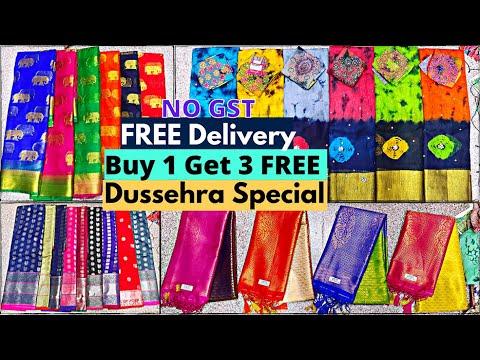 Madina Wholesale Sarees Buy 1 Get 3 FREE Transport FREE Dussehra OFFER Hyderabad