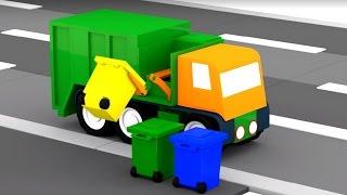 Spanish Cartoons. Cuatro coches coloreados: Camión de la basura. Caricaturas de carros para niños