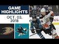 NHL Highlights   Ducks vs. Sharks - Oct. 3, 2018